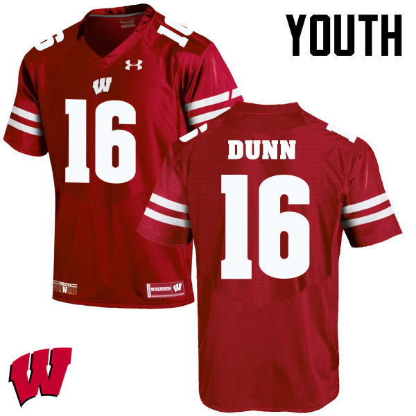 Youth Winsconsin Badgers #16 Jack Dunn College Football Jerseys-Red