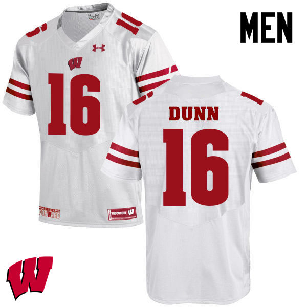 Men Winsconsin Badgers #16 Jack Dunn College Football Jerseys-White