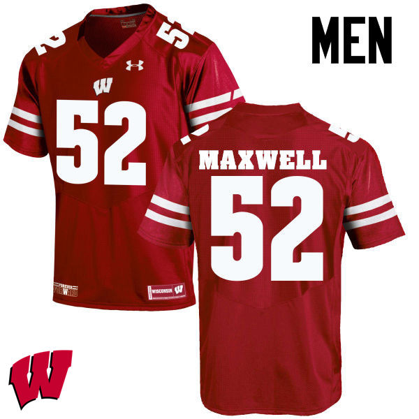 Men Wisconsin Badgers #52 Jacob Maxwell College Football Jerseys-Red