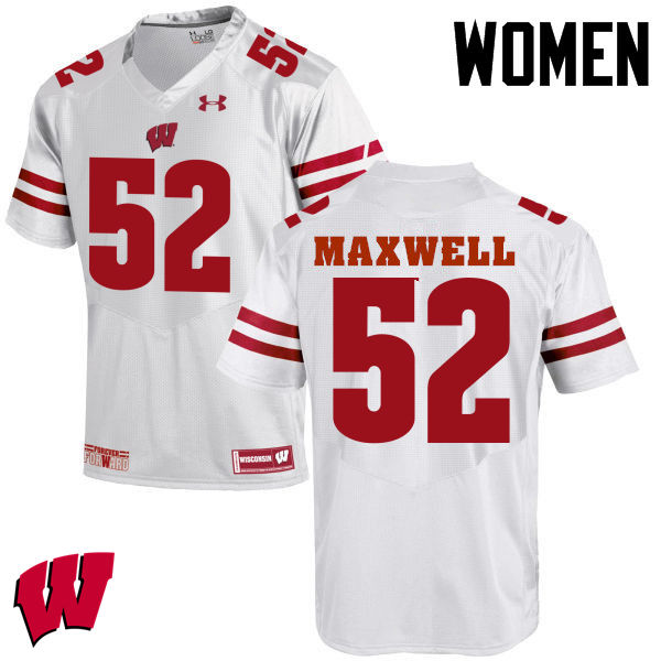 Women Wisconsin Badgers #52 Jacob Maxwell College Football Jerseys-White