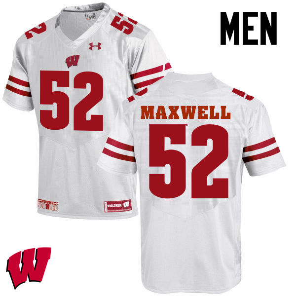 Men Wisconsin Badgers #52 Jacob Maxwell College Football Jerseys-White