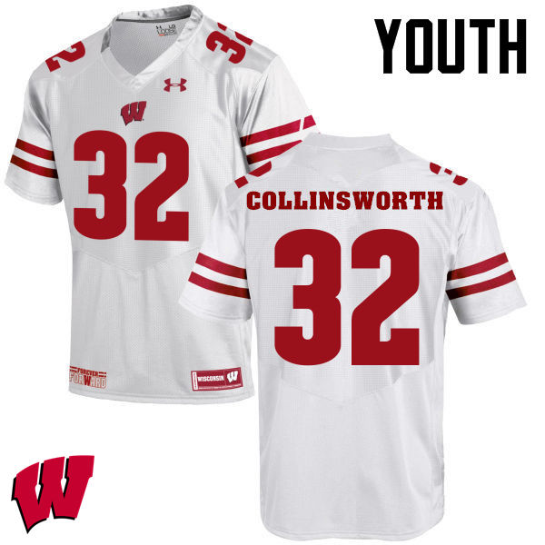 Youth Winsconsin Badgers #32 Jake Collinsworth College Football Jerseys-White