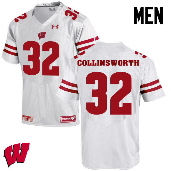 Men Winsconsin Badgers #32 Jake Collinsworth College Football Jerseys-White