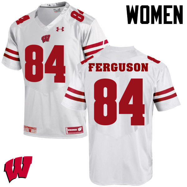 Women Winsconsin Badgers #84 Jake Ferguson College Football Jerseys-White