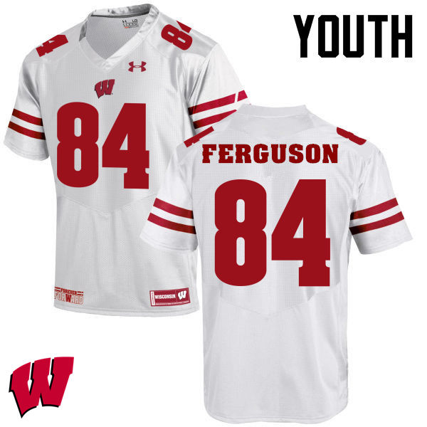 Youth Winsconsin Badgers #84 Jake Ferguson College Football Jerseys-White