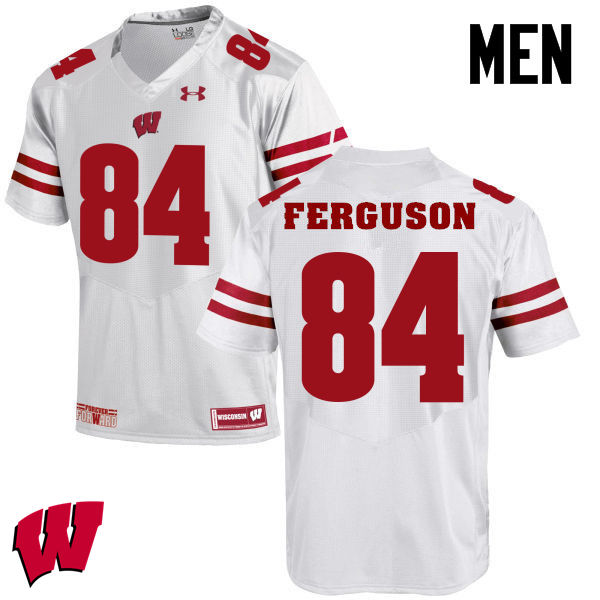 Men Winsconsin Badgers #84 Jake Ferguson College Football Jerseys-White