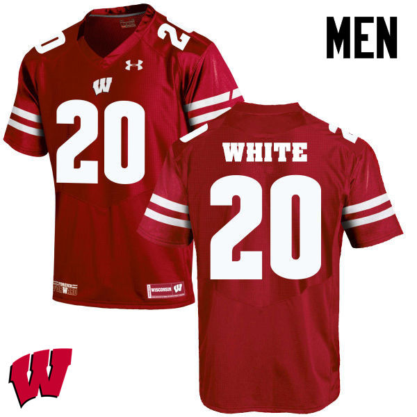 Men Winsconsin Badgers #20 James White College Football Jerseys-Red