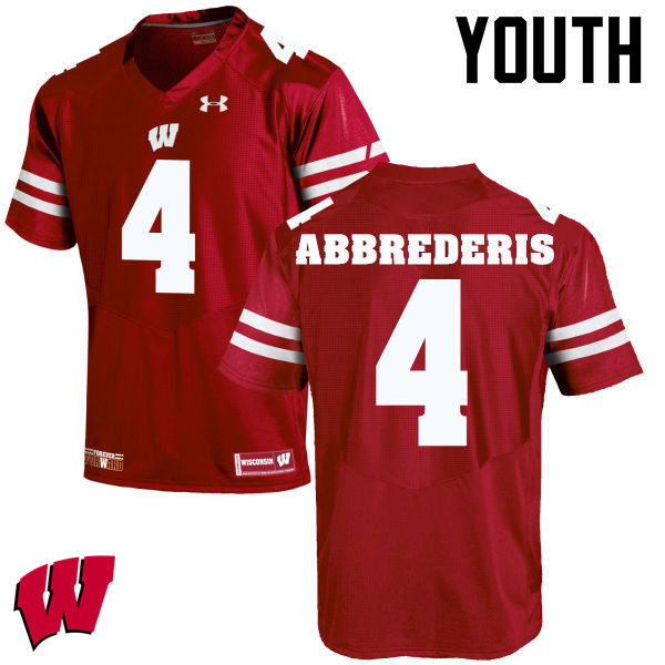 Youth Wisconsin Badgers #4 Jared Abbrederis College Football Jerseys-Red