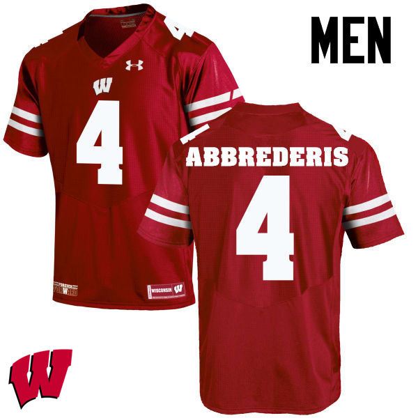Men Wisconsin Badgers #4 Jared Abbrederis College Football Jerseys-Red