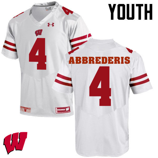 Youth Wisconsin Badgers #4 Jared Abbrederis College Football Jerseys-White