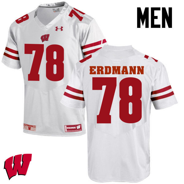 Men Wisconsin Badgers #78 Jason Erdmann College Football Jerseys-White