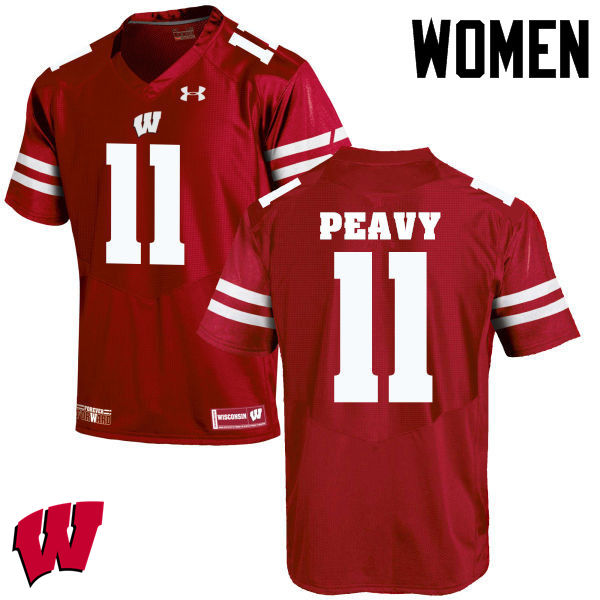 Women Wisconsin Badgers #11 Jazz Peavy College Football Jerseys-Red