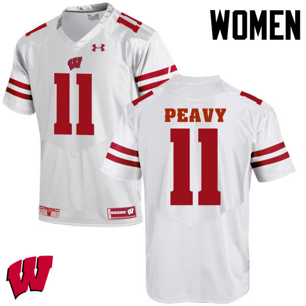 Women Wisconsin Badgers #11 Jazz Peavy College Football Jerseys-White