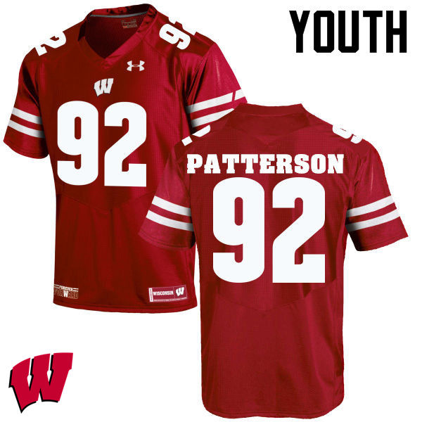 Youth Wisconsin Badgers #92 Jeremy Patterson College Football Jerseys-Red