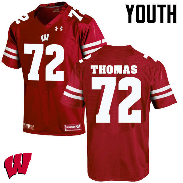Youth Wisconsin Badgers #72 Joe Thomas College Football Jerseys-Red