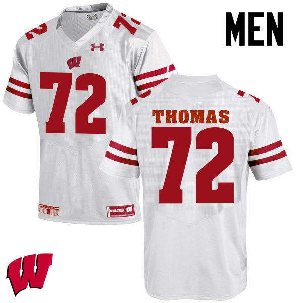 Men Wisconsin Badgers #72 Joe Thomas College Football Jerseys-White