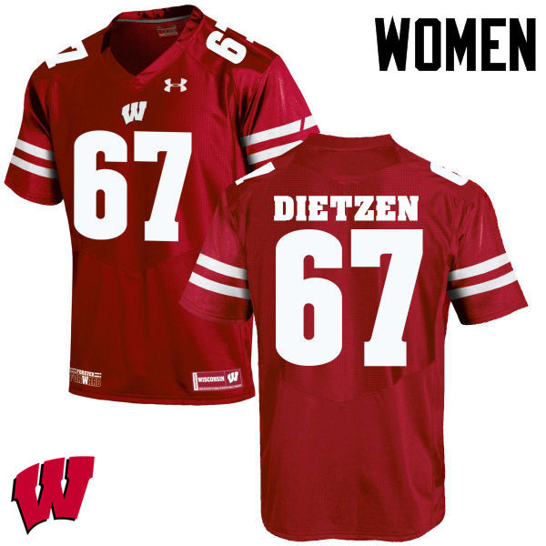 Women Wisconsin Badgers #67 Jon Dietzen College Football Jerseys-Red