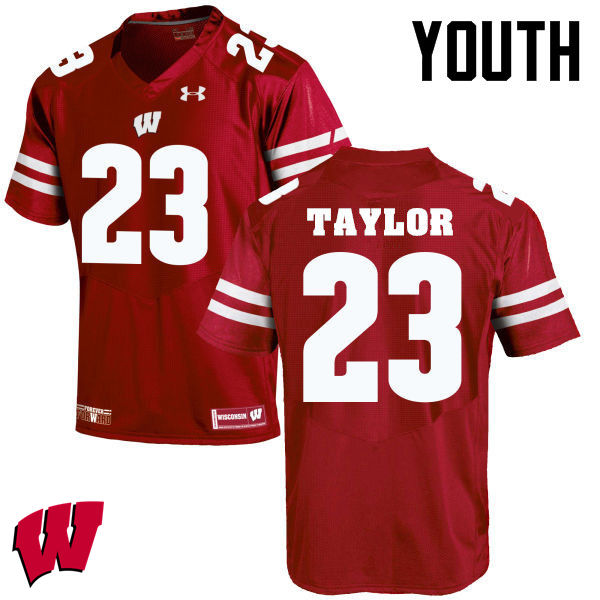 Youth Winsconsin Badgers #23 Jonathan Taylor College Football Jerseys-Red