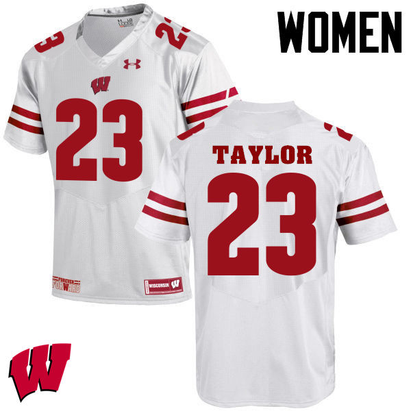 Women Winsconsin Badgers #23 Jonathan Taylor College Football Jerseys-White