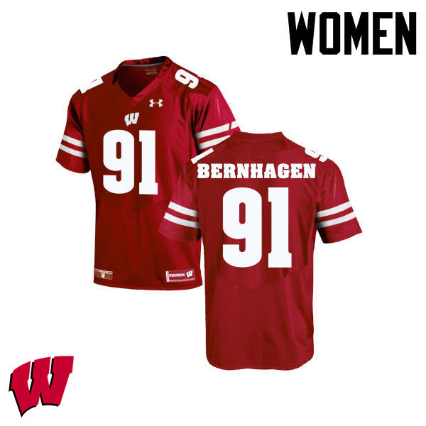 Women Winsconsin Badgers #91 Josh Bernhagen College Football Jerseys-Red