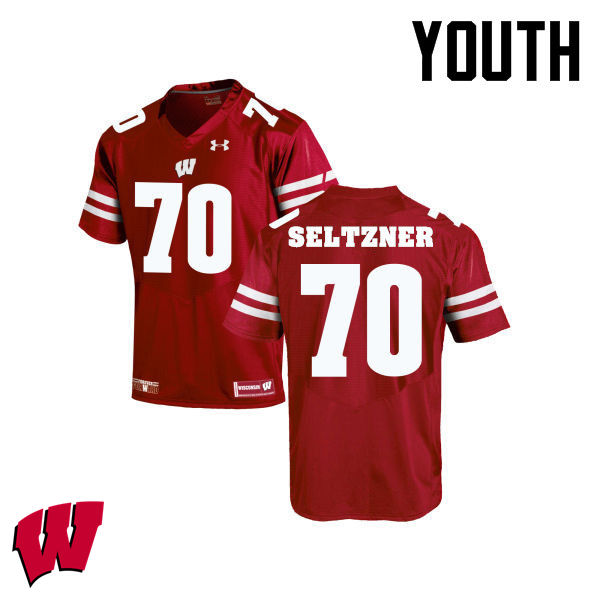 Youth Winsconsin Badgers #70 Josh Seltzner College Football Jerseys-Red