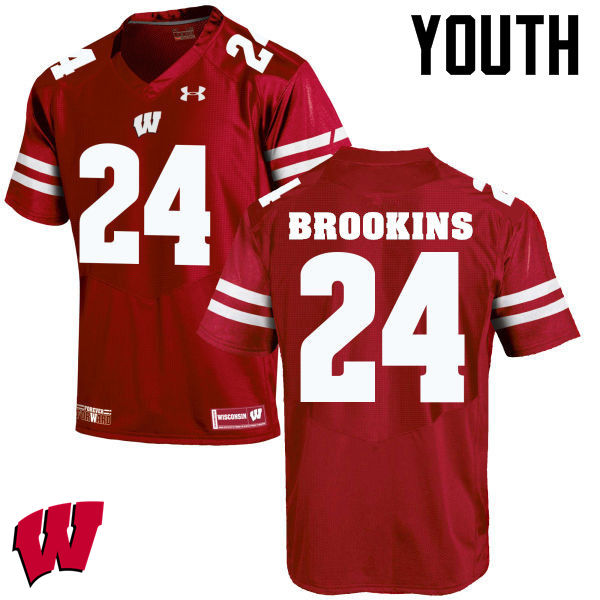 Youth Wisconsin Badgers #24 Keelon Brookins College Football Jerseys-Red