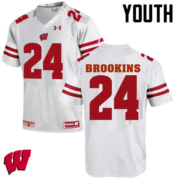 Youth Wisconsin Badgers #24 Keelon Brookins College Football Jerseys-White