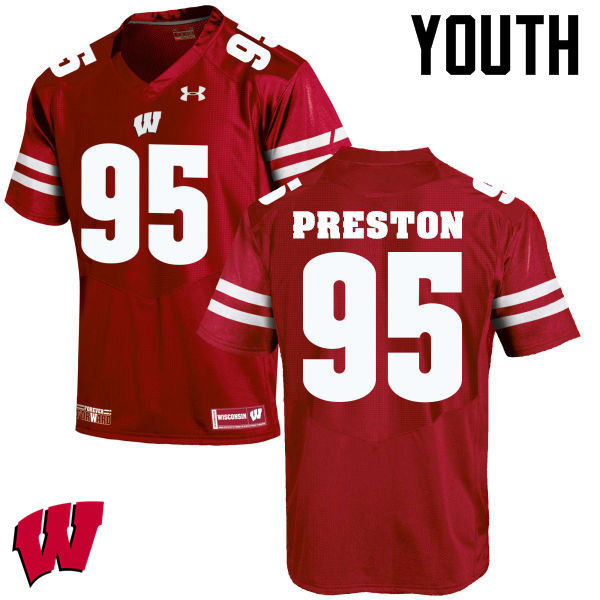 Youth Wisconsin Badgers #95 Keldric Preston College Football Jerseys-Red
