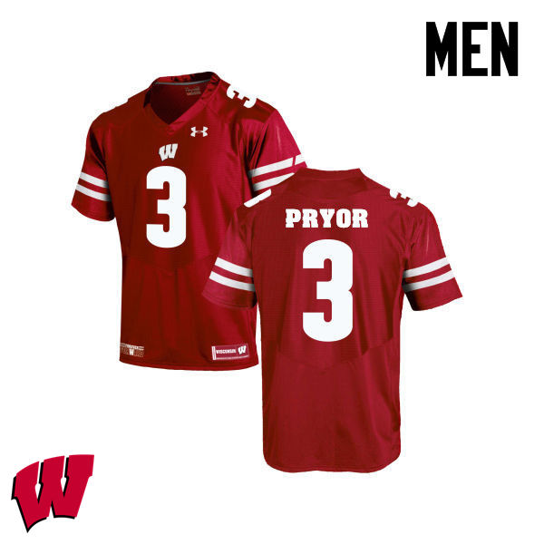 Men Winsconsin Badgers #3 Kendric Pryor College Football Jerseys-Red