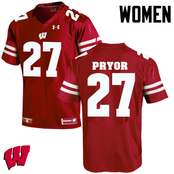 Women Wisconsin Badgers #27 Kendrick Pryor College Football Jerseys-Red