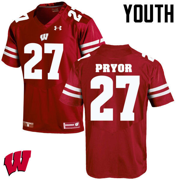 Youth Wisconsin Badgers #27 Kendrick Pryor College Football Jerseys-Red