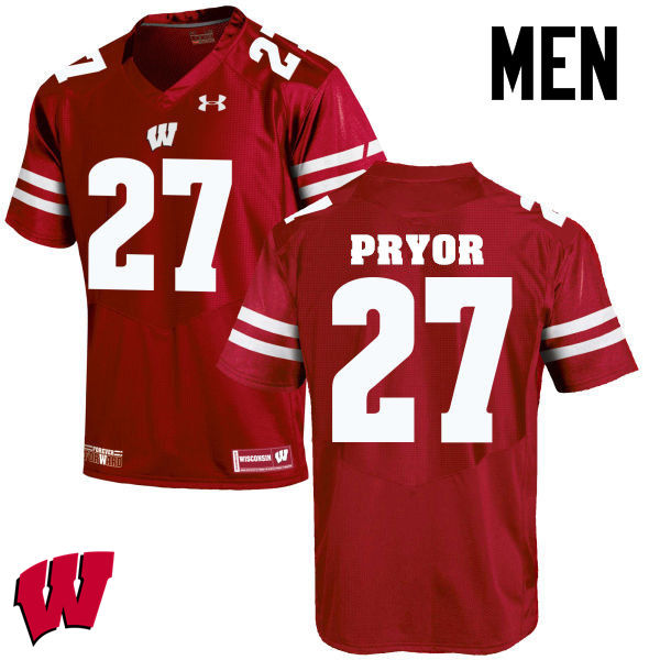 Men Wisconsin Badgers #27 Kendrick Pryor College Football Jerseys-Red