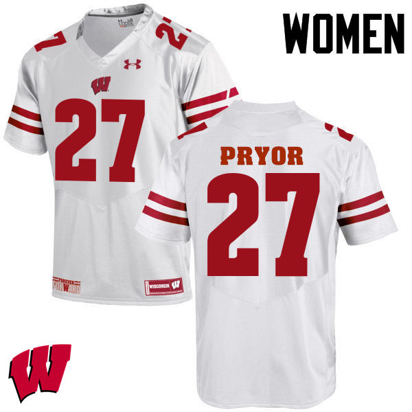 Women Wisconsin Badgers #27 Kendrick Pryor College Football Jerseys-White