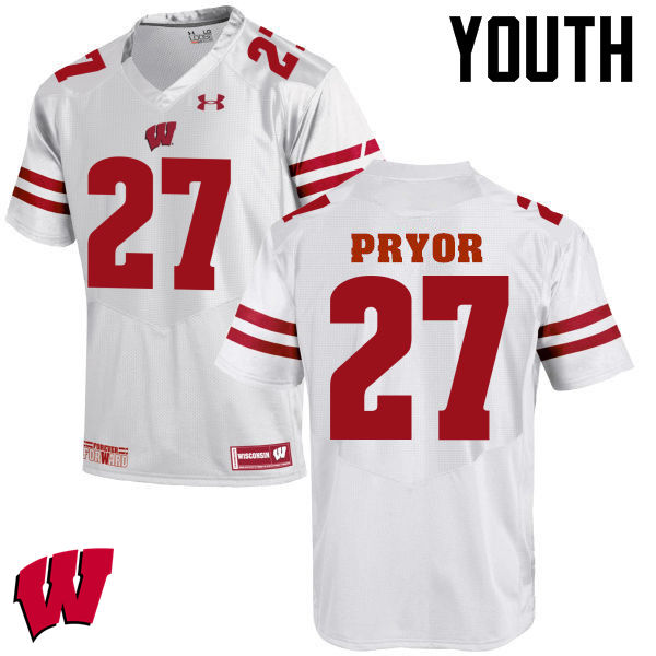 Youth Wisconsin Badgers #27 Kendrick Pryor College Football Jerseys-White