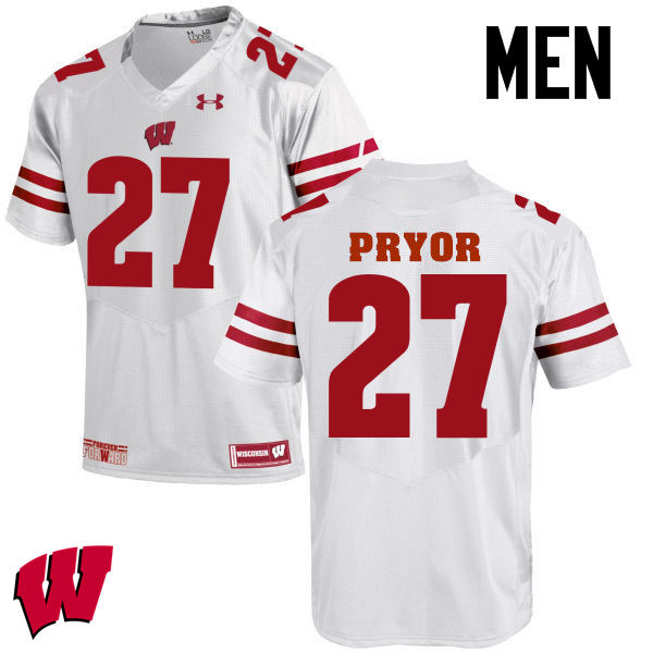 Men Wisconsin Badgers #27 Kendrick Pryor College Football Jerseys-White