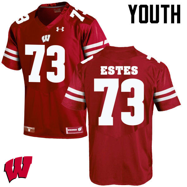 Youth Wisconsin Badgers #73 Kevin Estes College Football Jerseys-Red
