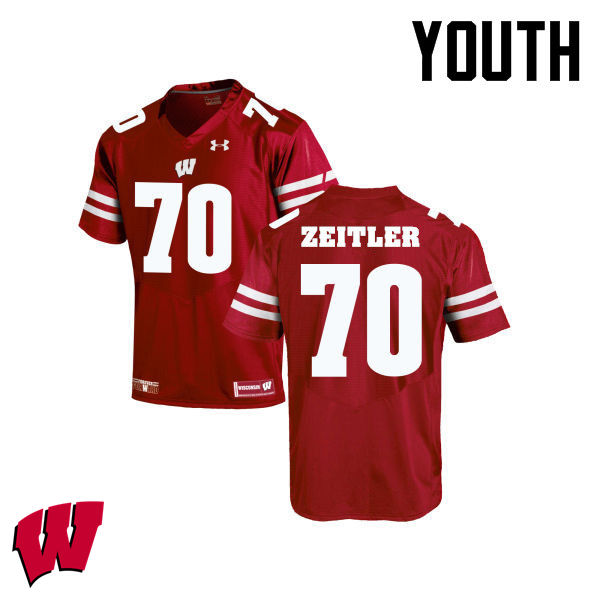 Youth Winsconsin Badgers #70 Kevin Zeitler College Football Jerseys-Red