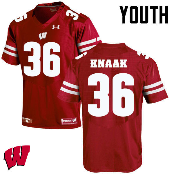Youth Winsconsin Badgers #36 Kobe Knaak College Football Jerseys-Red