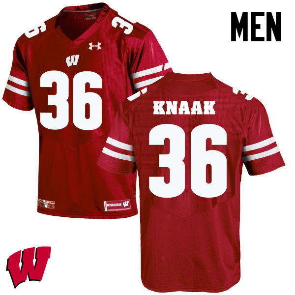 Men Winsconsin Badgers #36 Kobe Knaak College Football Jerseys-Red