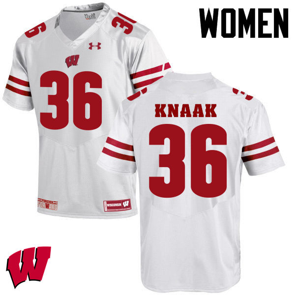 Women Winsconsin Badgers #36 Kobe Knaak College Football Jerseys-White