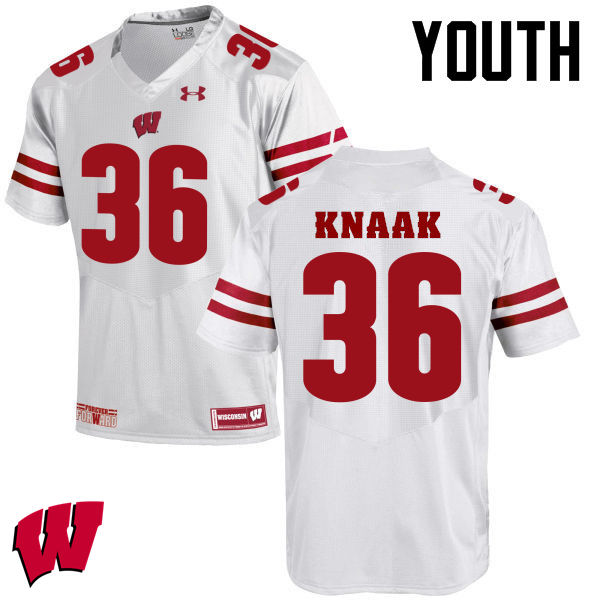 Youth Winsconsin Badgers #36 Kobe Knaak College Football Jerseys-White