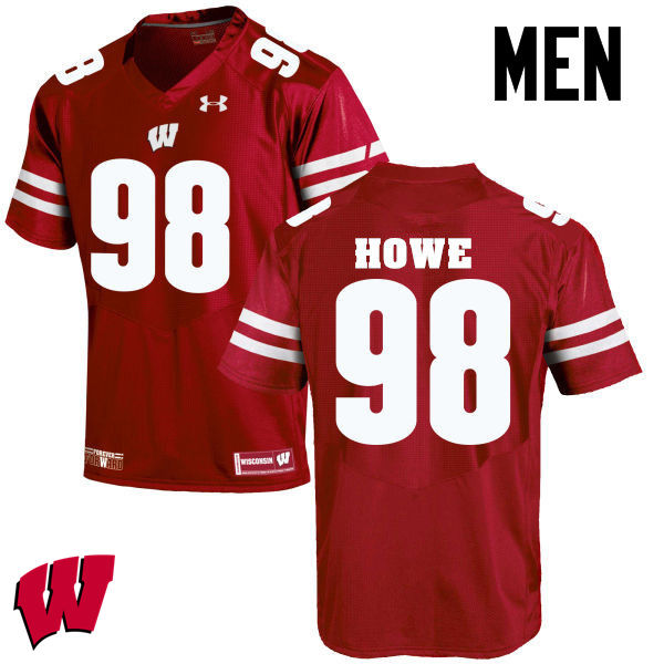 Men Wisconsin Badgers #98 Kraig Howe College Football Jerseys-Red