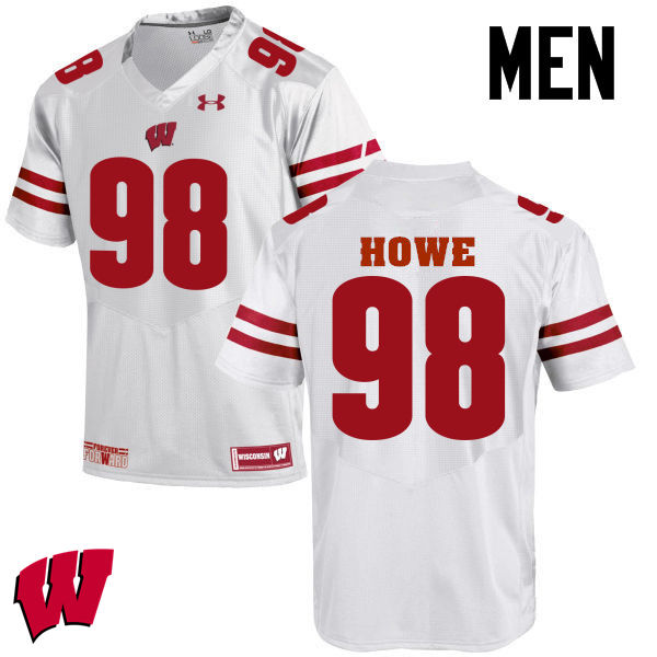 Men Wisconsin Badgers #98 Kraig Howe College Football Jerseys-White