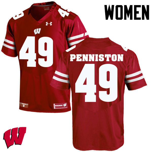 Women Wisconsin Badgers #49 Kyle Penniston College Football Jerseys-Red