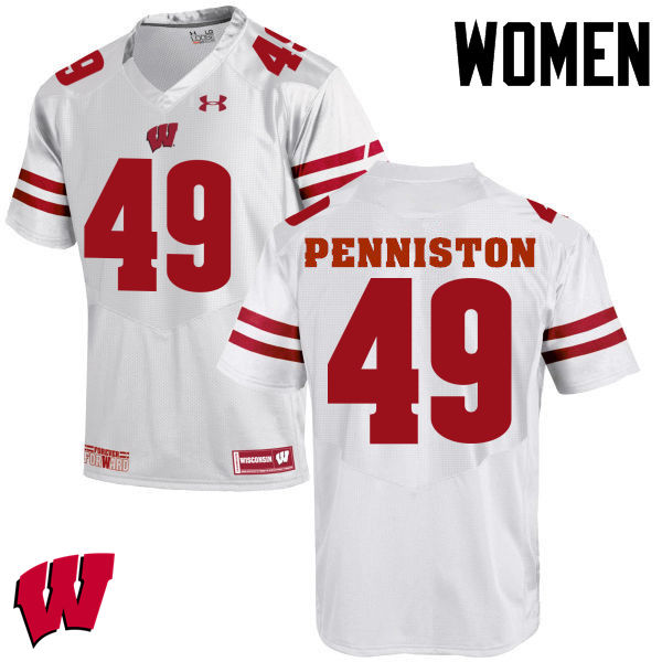 Women Wisconsin Badgers #49 Kyle Penniston College Football Jerseys-White
