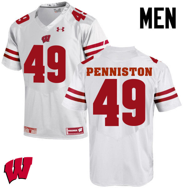 Men Wisconsin Badgers #49 Kyle Penniston College Football Jerseys-White