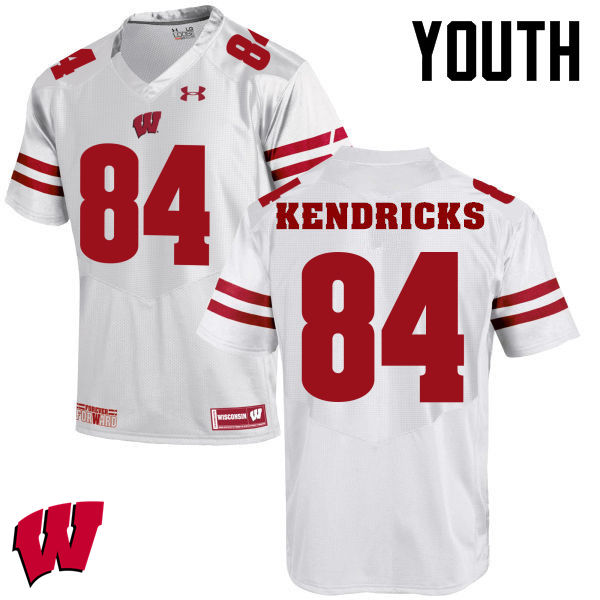 Youth Winsconsin Badgers #84 Lance Kendricks College Football Jerseys-White