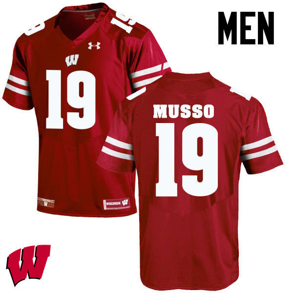 Men Wisconsin Badgers #19 Leo Musso College Football Jerseys-Red