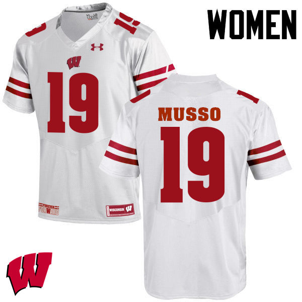 Women Wisconsin Badgers #19 Leo Musso College Football Jerseys-White