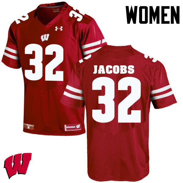 Women Wisconsin Badgers #32 Leon Jacobs College Football Jerseys-Red